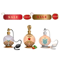 Perfume bottles with sale labels vector image
