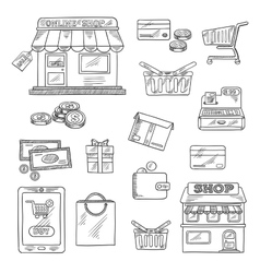 Shopping and retail icons set sketch style vector image vector image