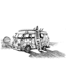 Surf van on the beach Hand drawn vector image vector image