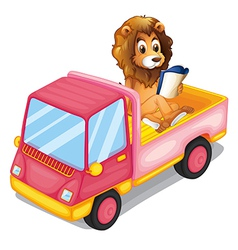A lion reading a book at the back of a truck vector image