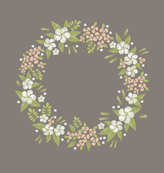 floral round embroidery frame vector image vector image