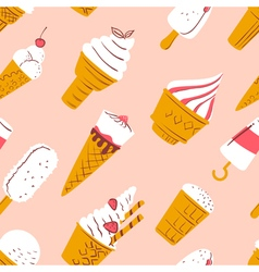 pattern with ice cream in cartoon style vector image vector image