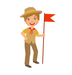 scout boy with red flag dressed in uniform a vector image vector image