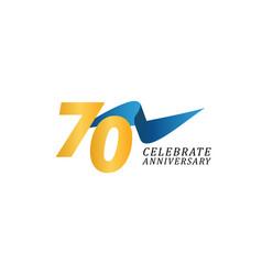 70 years anniversary celebration elegant ribbon vector