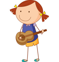 A doodle kid playing acoustic guitar cartoon vector