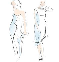 Abstract Fashion Girl Drawing vector image