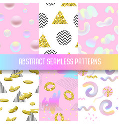 Abstract seamless patterns set with golden glitter vector
