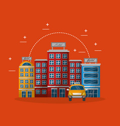 Accommodation building luxury hotel taxi vector
