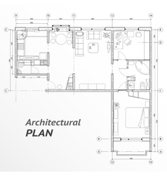 Architectural set furniture on apartment plan vector