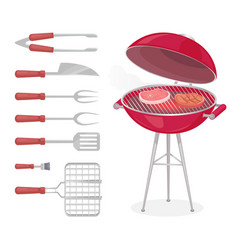 bbq grilling meat and tools vector image