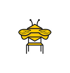 bench and bee logo designs inspiration isolated vector image