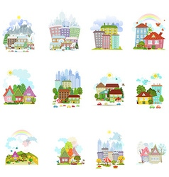 big collection of isolated towns and villages in vector image