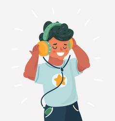 boy enjoying music in headphones vector image