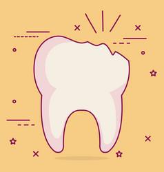 Broken tooth dental care icon vector