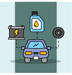car service maintenance battery wheel and oil vector image