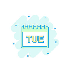 Cartoon colored tuesday calendar page icon in vector