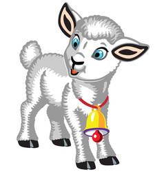 Cartoon lamb with golden bell vector