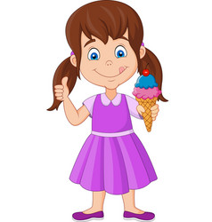 Cartoon little girl holding an ice cream vector