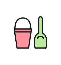 children bucket with spatula flat color icon vector image