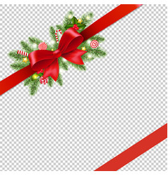 Christmas red ribbon and bow isolated transparent vector