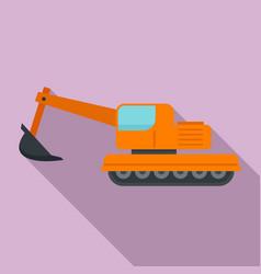 Coal excavator icon flat style vector