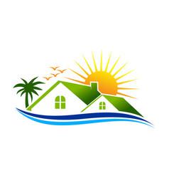 Coast real estate logo design vector