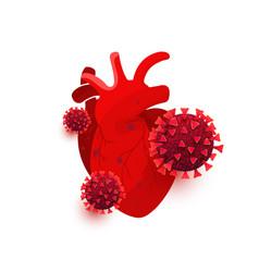 Coronavirus dangerous cells infect heart vector