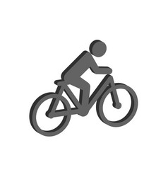 Cyclist symbol flat isometric icon or logo 3d vector