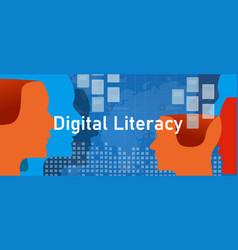 Digital literacy people understanding learning vector