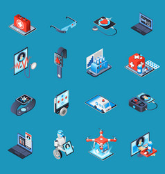 Digital medicine isometric icons vector