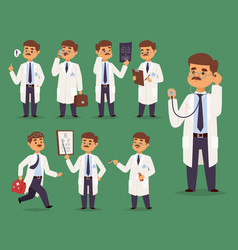Doctor nurse character medical man staff vector