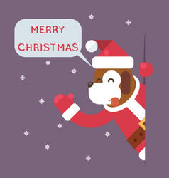 Dog 2018 merry christmas santa looking out corner vector