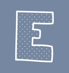 E alphabet letter with white polka dots on blue vector image