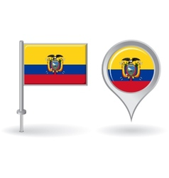 Ecuadorian pin icon and map pointer flag vector image