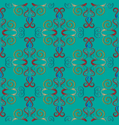 Embroidery turquoise damask seamless pattern vector