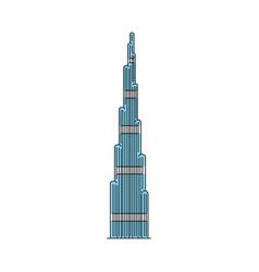 famous dubai skyscraper icon isolated on white vector image