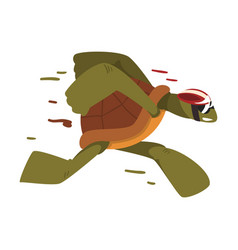 Fast turtle in helmet funny tortoise animal vector