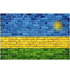 Flag of rwanda on a brick wall vector