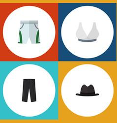 Flat icon dress set of brasserie pants panama vector