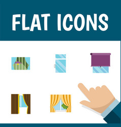 flat icon frame set of clean glazing glass and vector image
