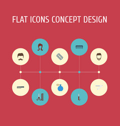 Flat icons blade comb hairbrush and other vector