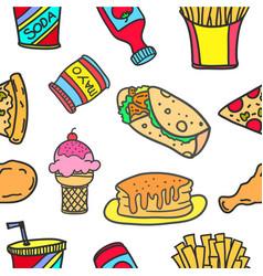 food various doodles vector image