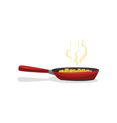 Fried potatoes with spices in a frying pan vector