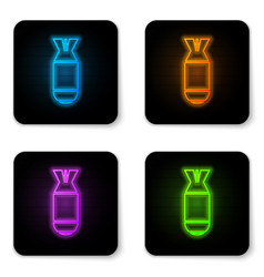 glowing neon aviation bomb icon isolated on white vector image