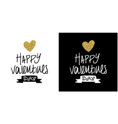 gold glitter valentines day greeting card quote vector image