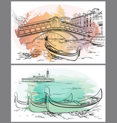 Gondoliers near rialto lido watercolor venice vector
