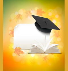 Graduation cap on autumn background with a book vector