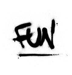 Graffiti fun word sprayed in black over white vector