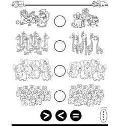 Greater less or equal task coloring page vector