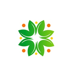 green leaf abstract bio ecology logo vector image